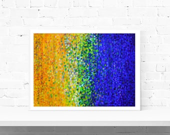 Yellow & Blue Print - Colourful Abstract Wall Art Print in Yellow Green and Blue - A1 A2 A3 A4 Fine Art Print - Large Print, Medium Print