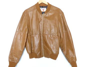 Mens Leather Field and Stream Bomber Jacket Camel Tan Brown Safari L XL