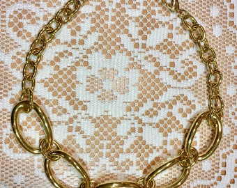 "Robert Lee Morris RLM Soho Gold Chain Link Modernistic Choker Necklace 19"" Adjustable LN!"