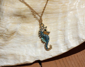 Blue Crystal Seahorse Necklace, Seahorse Pendant, Beach Jewelry, Seahorse Jewelry, Nautical Jewelry, Ocean Necklace
