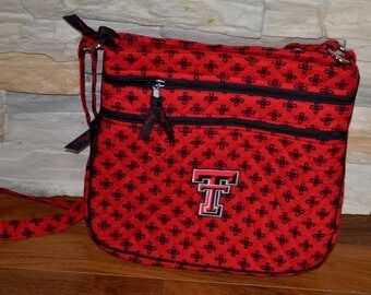 90s vintage Vera Bradley red black T crossbody bag Cloth Handbag Purse fabric shoulder bag vacation travel tote NOS NEW