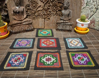 Hmong Hand Cross Stitch Textile,Set Of 7, Hand Needlework Patch, Hmong Textile,