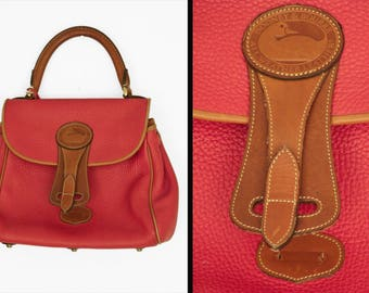 Dooney and Bourke Bag Red + Brown Top Handle Footed Pebbled Leather