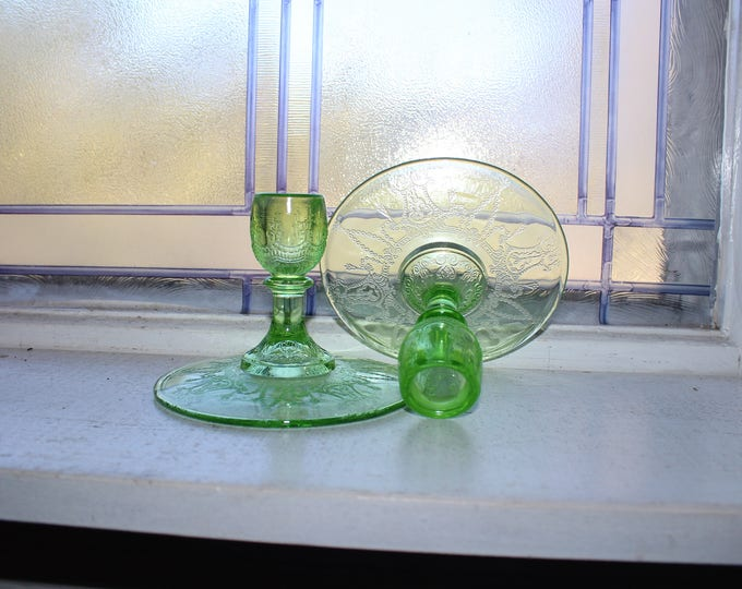 Green Depression Glass Candlesticks Pair Cameo Ballerina Vintage 1930s