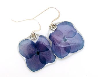 Gardener Gift, Nature Lover, pressed flower, woodland earrings, Botanical jewelry, nature made earrings, real blue hydrangea earrings