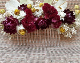 Floral Hair Comb Burgundy and White Flowers For Wedding or Prom