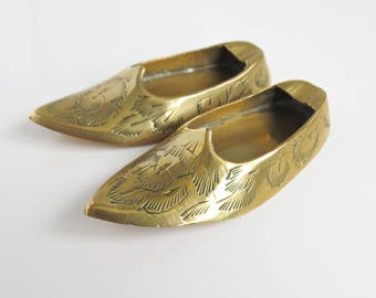 Pair of Vintage Indian Etched Brass Shoes or Slippers Ashtray - Boho Home Decor