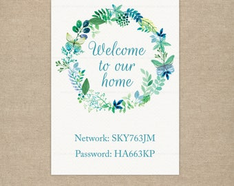 Wifi Password Guest Room Sign, Personalised Printable, Wifi is on the house, Home, Floral teal