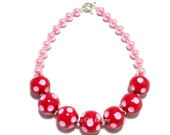 Toddler or Girls Pink and Red Polkadot Chunky Necklace - Valentine's Day Chunky Necklace - Girls Love Necklace - Candy Pink Necklace