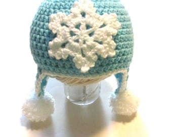 Ready to ship winter snowflake hat.  3-6 months blue hat with snowflake.  Baby winter ear flap hat with pom poms.