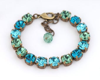 Teal Green Swarovski Crystal Bracelet, Green Crystal Tennis Bracelet, Blue Green Rhinestone Jewelry, Antiqued Brass Bracelet Teal, Demetra