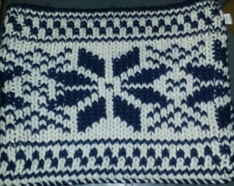 Handknitted reversible  infinity snow flake scarf navy and white