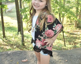 NEW!! Girls Black Floral Kimono, Pink Roses Girls Kimono, Fringe Trim, Beach Cover up, Swim Suit Cover Up, Cardigan, Toddler Kimono