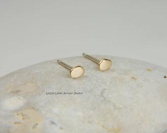Tiny Gold Earrings 14K Gold Studs Minimalist Earrings Organic Earrings Gold Stud Earrings Simple Gold Earrings