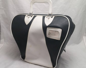 Vintage Gladding Bowling Ball Faux Leather Naugahyde Case - White and Black Color with White Piping