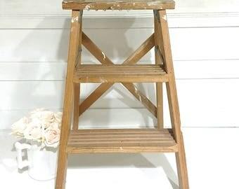 Vintage Wood Step Ladder Rustic Farmhouse Ladder