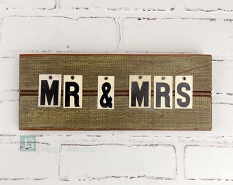 MR & MRS Sign Plaque, Olive Green, Bride and Groom, Newly Weds, Wall Hanger, Shelf Decor, Vintage Tin Letters, Distressed Painted Surface