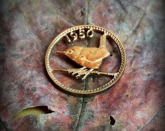 Wren Coin cut bronze necklace pendant charm Artistic cut of farthing coin handmade jewelry