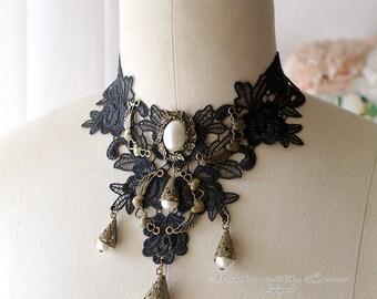 Steampunk Choker Necklace , Black Lace Collar Jabot Pearl Cameo Neckpiece Bib Necklace victorian Goth Gothic Jewelry Handmade  Lolita