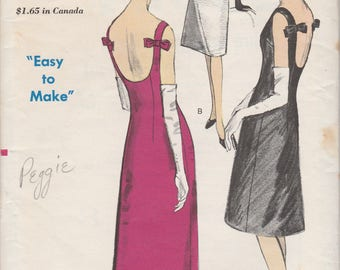 Low Backed 60s Evening Dress Pattern Vogue 6085 Size 12