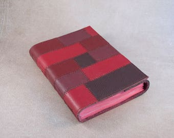 Leather journal, red patchwork sketchbook, unique notebook A6 travel journal, writing journal
