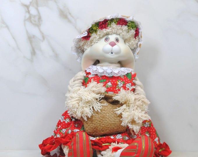 Vintage House of Lloyd Christmas Bunny, Flossie, Christmas Rabbit Decoration, Shelf Decoration, Porcelain Straw Rabbit Figurine, 1993, Doll