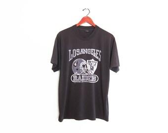 vintage t shirt / Los Angeles Raiders / 90s sportswear / 1990s Los Angeles Raiders faded black t shirt Large
