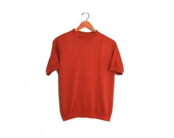 vintage t shirt / mock neck shirt / sweater shirt / 1960s rust colored mock neck short sleeve sweatshirt Small