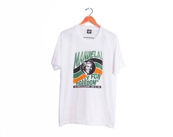 vintage t shirt / Nelson Mandela / political t shirt / 1990s Nelson Mandela Rally for Freedom t shirt Large