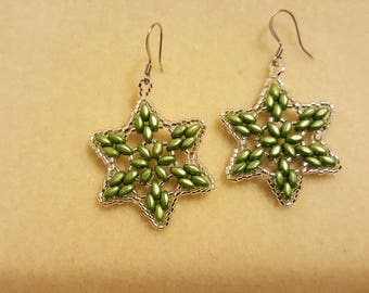 light sage green silver clear star earrings wedding holiday gift