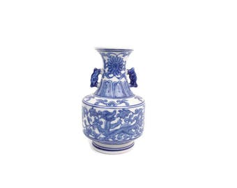 Vintage Blue and White Bud Vase Double Handle Asian Design Dragons and Flowers Chinoiserie Style Urn