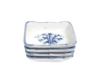 Vintage Blue and White Porcelain Salt Cellars Bamboo Design Butter Pats Condiment Dishes Asian Tea Bag Rests Spoon Rest Pin Dish
