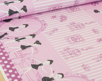 Shinzi Katoh | Japanese fabric - kawaii ballerina fabric - oxford cotton - fuschia - 1/2 YD