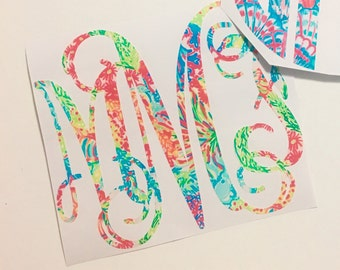 Lovers Coral Lilly Pulitzer Print Inspired Monogram Vinyl Decal Personalized Custom Sticker