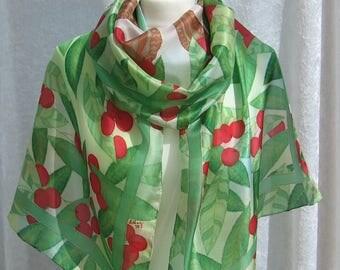 Cherries - hand painted silk scarf