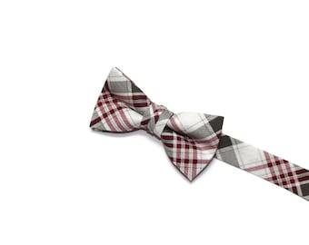 Boys Bow Tie~Easter Bow Tie~Summer Bow Tie~Boys Plaid Bow Tie~Ring Bearer Tie~Wedding Bow Tie~Boys~HoBo Ties~Burgundy & Gray Plaid Bow Tie
