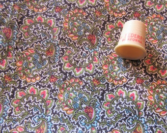 orange and green paisley print vintage cotton fabric -- 34 wide by 30 inches long