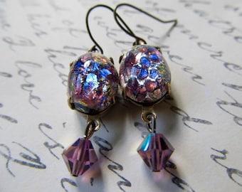 Opal Earrings Gold Fire Opal Earrings Gothic Earrings Art Nouveau Earrings Art Deco Jewelry 1920s Earrings Miss Fisher Earrings- Lilac