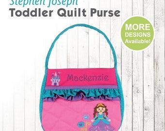 Princess Purse, Stephen Joseph Quilt Purse, Personalized Toddler Purse, Princess Applique Purse, Kids Embroidered Name, Kids Red Purse