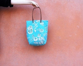 Womens Tote Bag Leather Handles, Travel Bag, Boho Chic Blue Floral Tote Bag, Gift for Women, Birthday Gift for Her, Bohemian Summer Tote