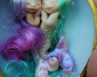 sweet  mermaids fairie fairy friend  in  shell purse  tiny  ooak
