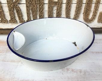 Antique Enamel Wash Basin With Soap Holder - White Enamelware - Wash Basin With Soap Dish - Basin With Soap Tray - Rare