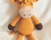 Handmade Crochet Golden Brown Highland Cow Handmade Animal Wool Soft Toy Gift