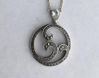 Art Nouveau Style Silver Marcasite Necklace - Sterling Silver Round Pendant. Vintage Wedding, Bride