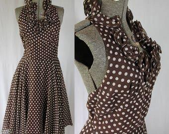 70s Halter Dress, Polka Dot, Caplet, Ruffles, Rockabilly Girl