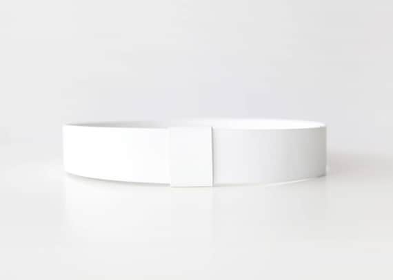 White waist belt- modern and minimalist leather look sleek women's waist belt- whiet vegan belt