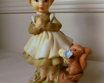 Girl with Squirrel Vintage Figurine