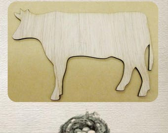 Cow (Small) Wood Cut Out -  Laser Cut