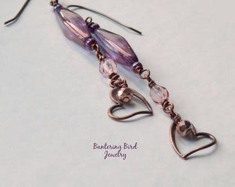 Extra Long Earrings with Copper Heart Dangle, Purple and Pink Glass Beads, Boho Chic Jewelry