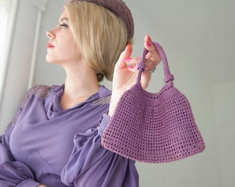 Vintage 1930s purple purse, crochet wristlet, small lilac reticule handbag 1940s